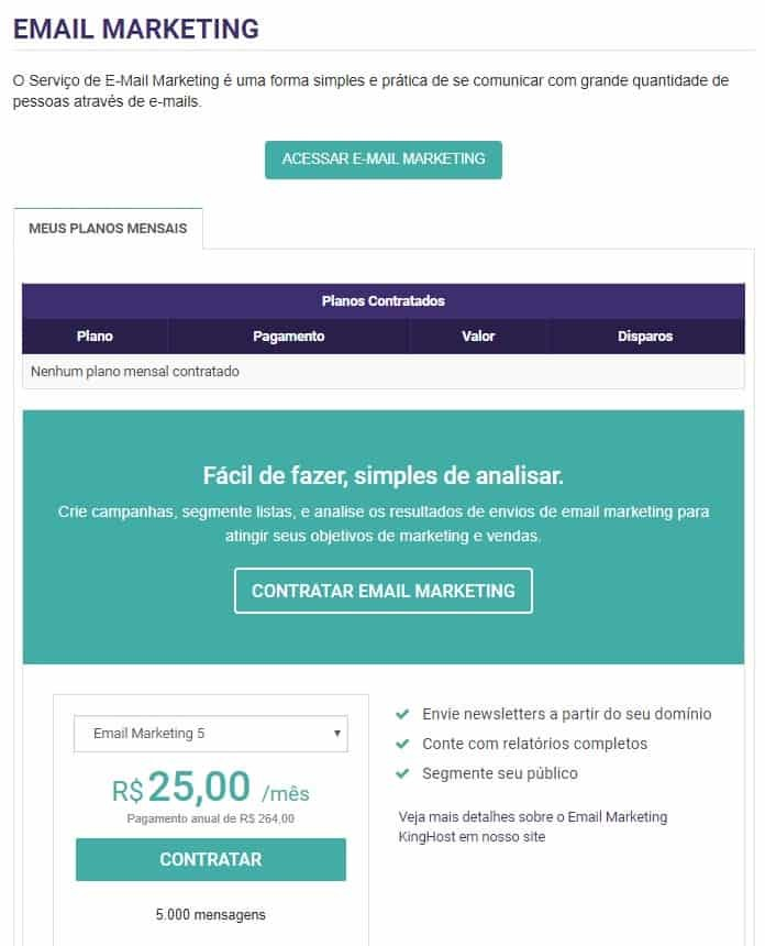 KingHost E-mail Marketing