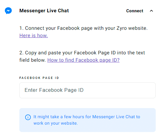Colocar chat do Messenger no site criado na Zyro.